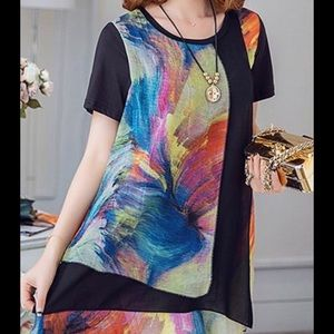 Tops - 🌟HPx2🌟Colorful asymmetric layered tunic top