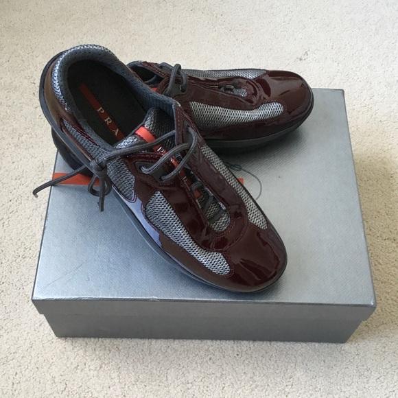 Prada Vernice Metal Bike Patent Sneaker NIB 7.5 8535352950