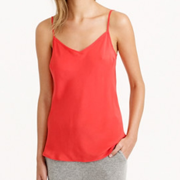 9be7ddcc5f2ed J. Crew Tops - J. Crew Silk Cami Fiery Red
