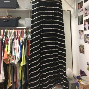 Black and white striped long skirt.