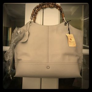 Emma Fox Grey LEATHER Bag w Straps