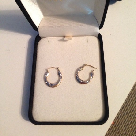 83a49ea81 Kay Jewelers Jewelry - 14k gold and silver hoop earrings from Kay Jeweler