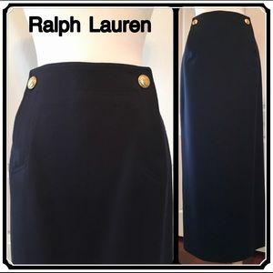 Ralph Lauren Skirt Navy Wool 4 6 Retail $490