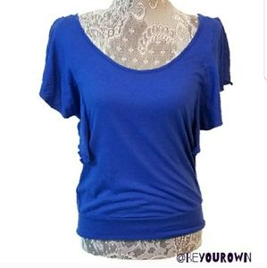 ☆ EXPRESS ruffle open sleeve top royal blue
