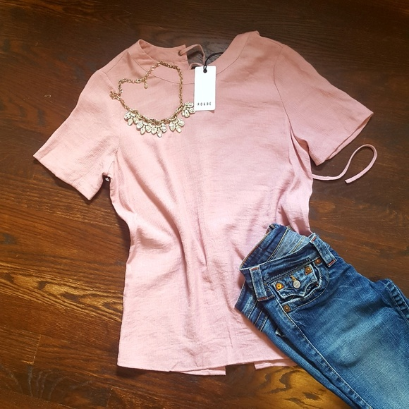 2cb1e57837c2d3 Ro & De Tops | Nwt Rode Dusty Rose Top Wlace Up Back | Poshmark