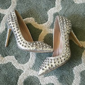 SHOEMINT Silver Glitter Studded Heels Sz 6 1/2