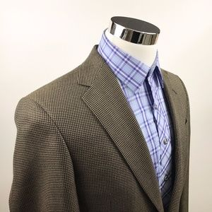 Hart Schaffner Marx Mens 36R Black Gold Tweed