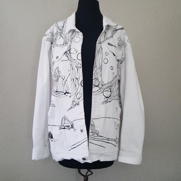 ef58663f38d Lady Gaga Jackets & Blazers - Lady Gaga art Rave Jean Jacket