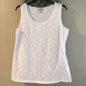 White sleeveless top with floral lace overlay