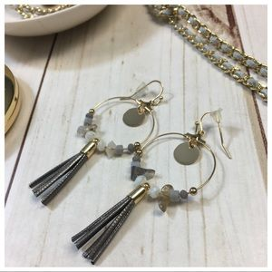 Gray stone and fringe earrings