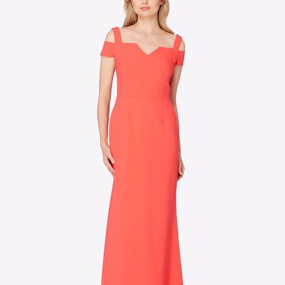 61f15072c812 Tahari Dresses | Asl Cold Shoulder Smooth Crepe Gown | Poshmark