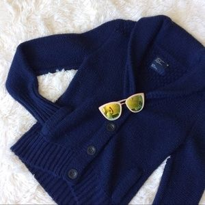 AEO blue chunky knit button up longsleeve cardigan