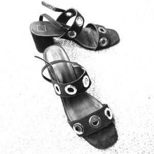 Size 10 Heeled Sandals Black/Silver Grommet