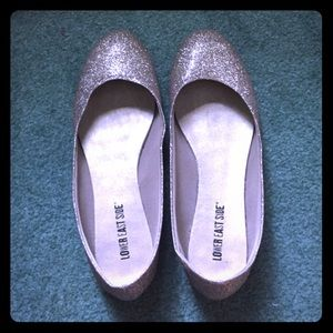 Shoes - Silver Sparkle Flats