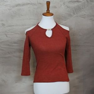 Stitch Fix Papermoon cold shoulder maroon top XS