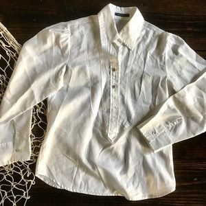 Billy Reid white pull over dress shirt