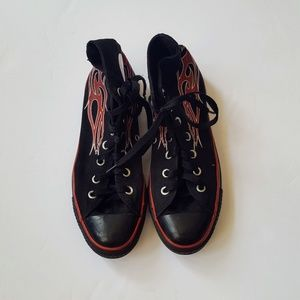 Converse Shoes - Converse Chucks High Top Black Red Flames 8 5c0e9a569