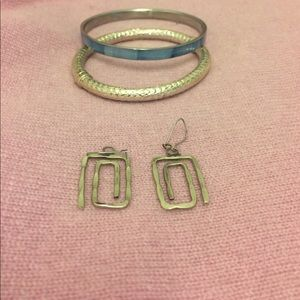 Silver earring bracelet bundle
