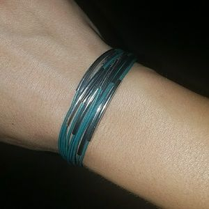 Jewelry - Teal corded bracelet with silver Hardware