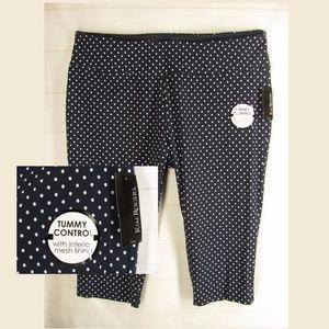 33b394320c685 Kim Rogers Pants - Kim Rogers Capri Pants Plus 3X Navy Blue Polka Dot