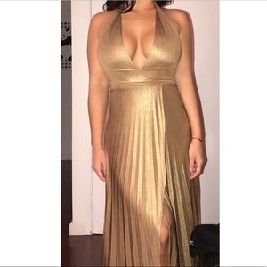 Golden Bronze Halter evening dress