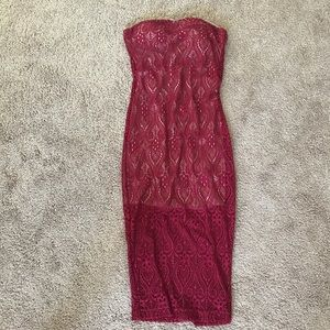 Dresses & Skirts - Maroon/wine color bodycon lace dress