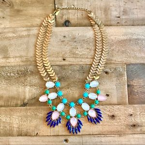 Jewelry - Blue, Green, White, Pink & Gold Statement Necklace