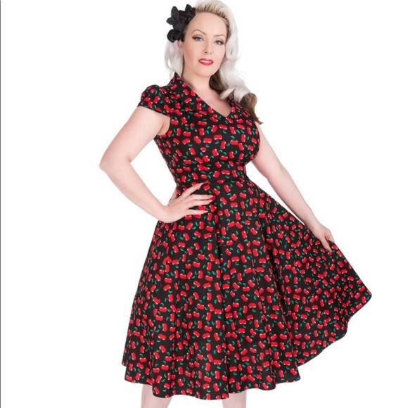 852c543b14dd H R London Cherry Dress Cherries Pinup Retro Black