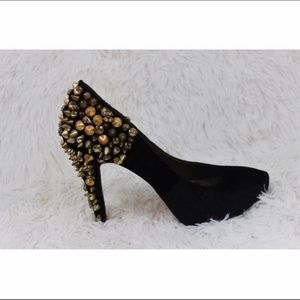 "Sam Edelman Shoes - SAM EDELMAN black ""Roza studded Velvet Pumps"""