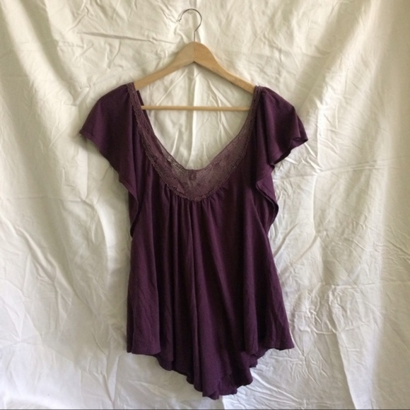 American Eagle Outfitters Tops - AEO purple lace detail vneck short sleeve top