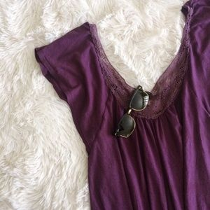 AEO purple lace detail vneck short sleeve top