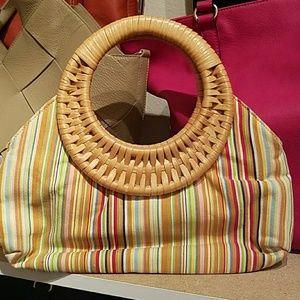 Rampage Canvas Rainbow Striped Straw Handle Bag