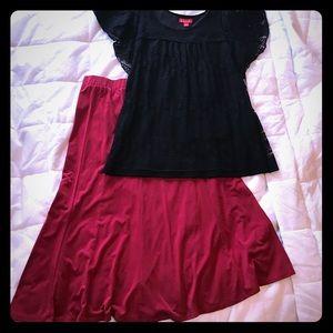 Sunny Leigh dark red stretch skirt