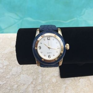 Adrienne Blue Genuine Leather Braided Strap Watch