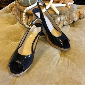 Boden blue patent leather wedge. Size 42