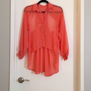 Coral High Low Keyhole Back Blouse