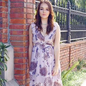 Purple Floral Midi Dress with Cutouts