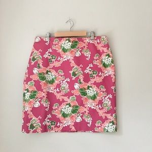 Talbots Pink Floral Pencil Skirt