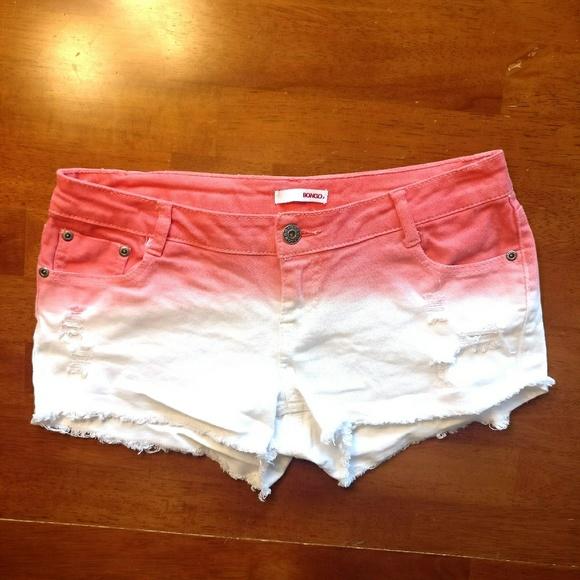 BONGO Orange & White Ombre Cutoff Denim Shorts