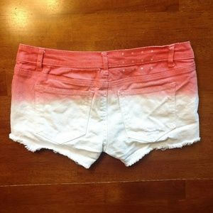 BONGO Shorts - BONGO Orange & White Ombre Cutoff Denim Shorts