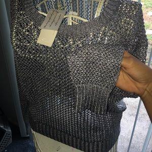 Minnie rose metallic crochet sweater w/ tags
