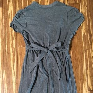 Dresses - Speckles grey cotton Dress with tie in the back