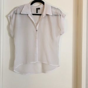 White short sleeve button up Blouse