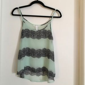 Lace striped sheer tank