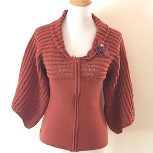 Rusty Red Wide Sleeve Zip Sweater by Tracy Porter