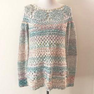 Pastel Crochet Knit FP Sweater