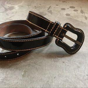 "Black Patent Leather Fendi ""B"" Belt"