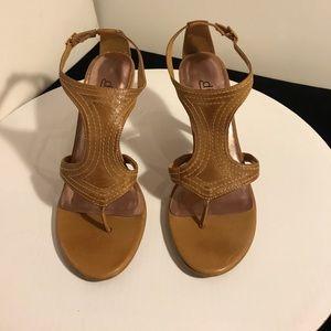 Diba tan leather thong sandal heels