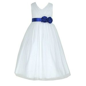 Other - Girl Size 12 White Tulle Dress with Blue Sash