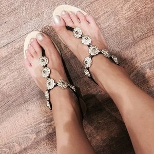 Authentic Chanel Silver Camellia Flower Sandals